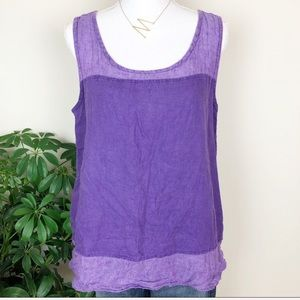 Flax purple linen tank top